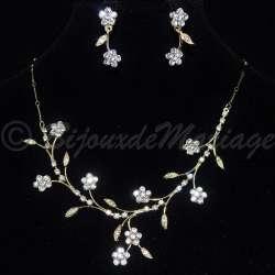 Parure bijoux mariage FLEURS, cristal, structure ton or