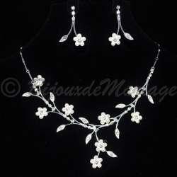 """""""FLEURS"""" parure de bijoux mariage cristal perles, ton argent 2610-22072012"""